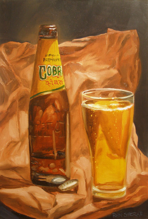 A painting of Cobra brand beer