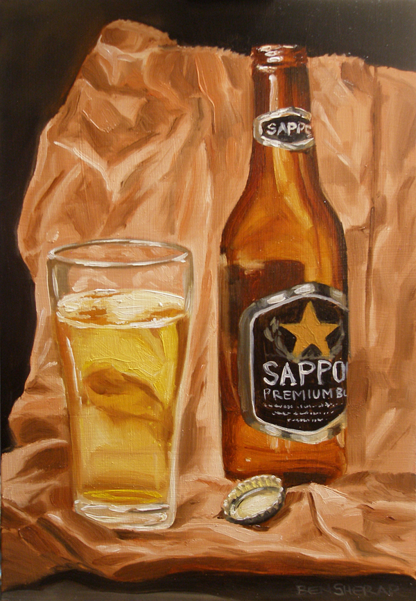 A still life of a Sapporo beer