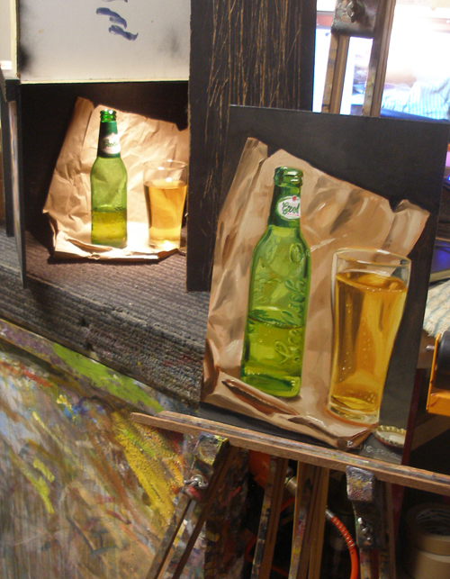 A still life painting of a Grolsch beer
