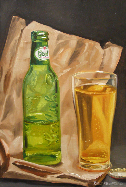 A painting of a Grolsch beer
