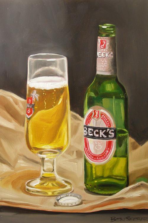 A still life of a Becks brand beer