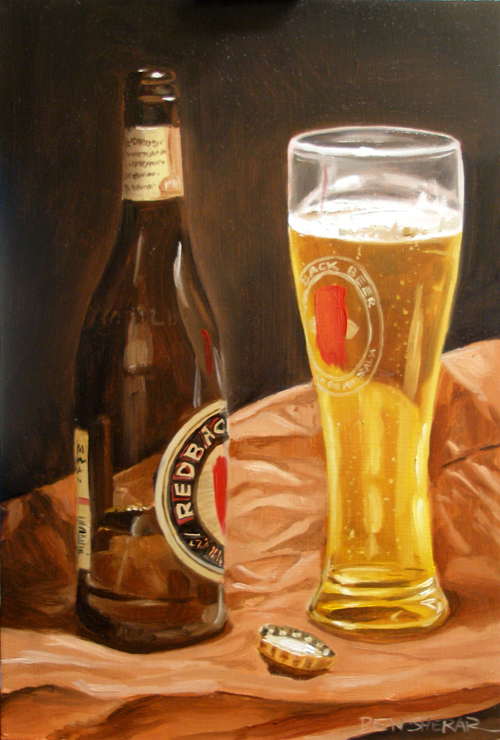 A still life painting of a Redback beer