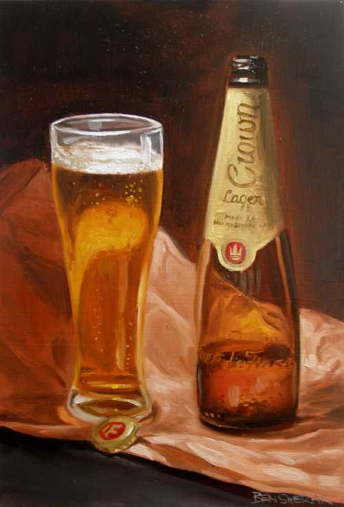 A still life painting of a beer