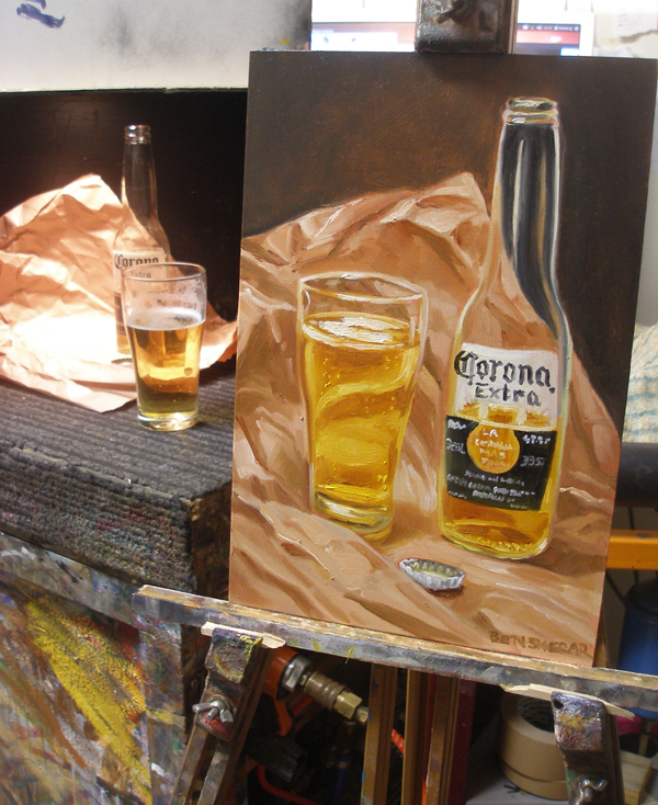 A still life setup with a Corona beer
