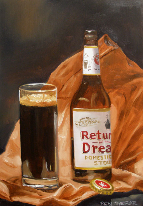 A paintingt of a stout beer bottle