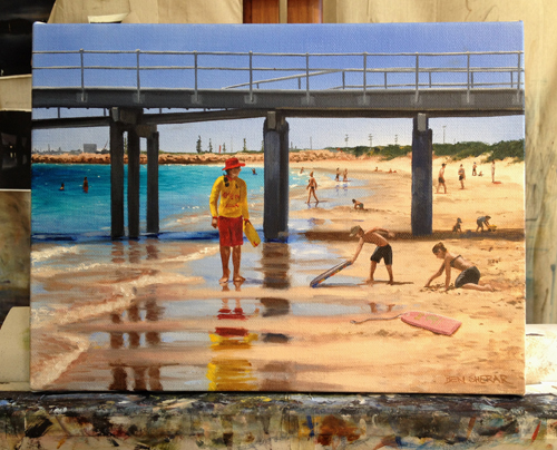 An original oil painting of a lifesaver guard at Coogee beach