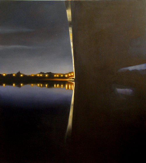 A painting of a bridge over a river at night