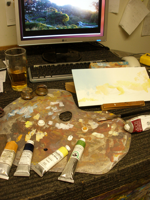 Some artists materials on a work bench