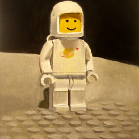 a painting of a plastic spaceman toy