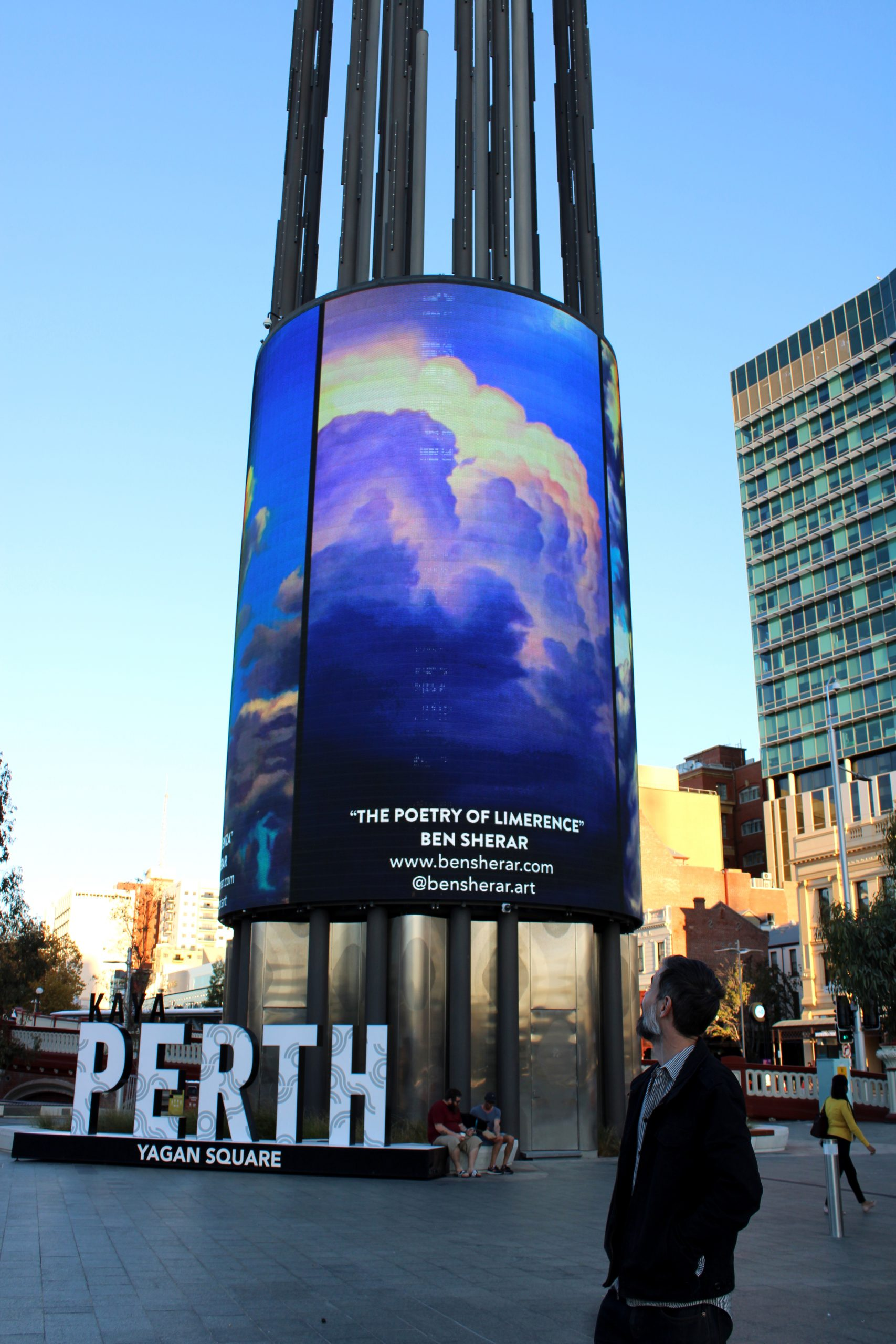 A display of a painting on the Digital Tower at Yagan Square in perth Western Australia