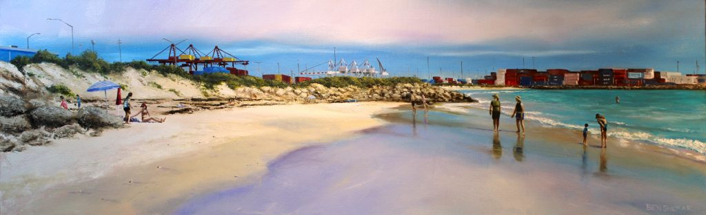 An oil painting of Port Beach in North Fremantle on the coast of the Indian Ocean in Perth Western Australia