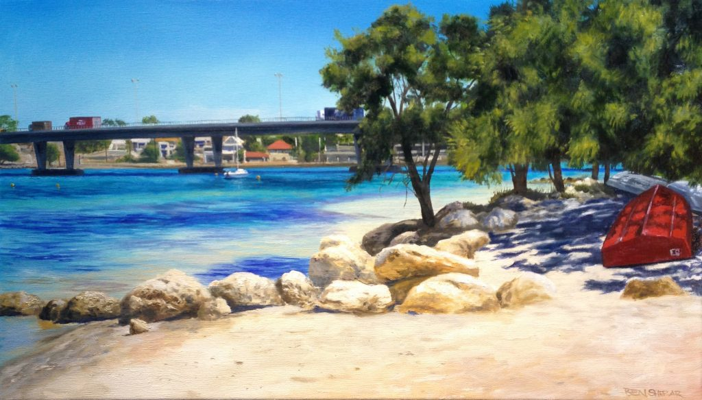 An original oil painting of some dinghies parked on the shore of the Swan River in East Fremantle with a view of Stirling bridge in the background