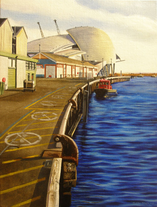 An original painting by Ben Sherar of the docks in Fremantle