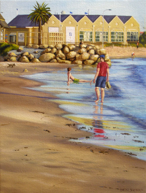 An original painting by Ben Sherar of Bathers beach in Fremantle