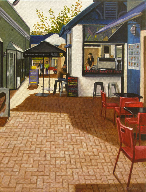 An original painting by Ben Sherar of a cafe in Fremantle