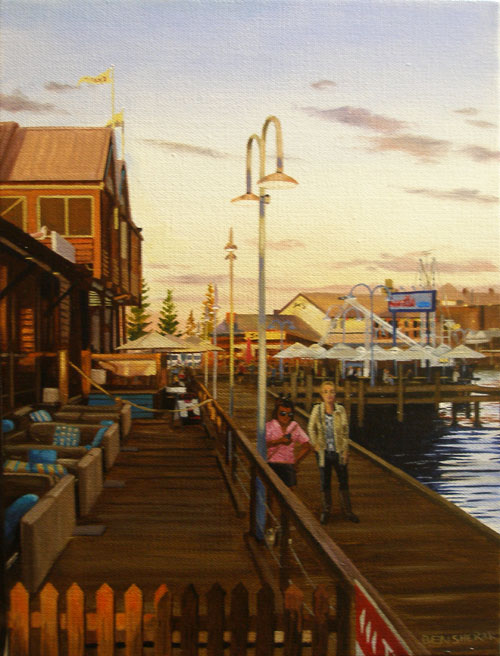 An original painting by Ben Sherar of the Fishing Boat Harbour boardwalk