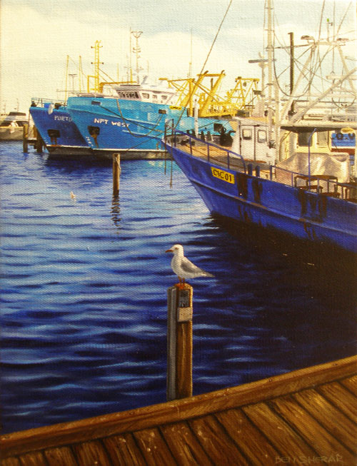 An original painting by Ben Sherar of fishing boats in Fremantle
