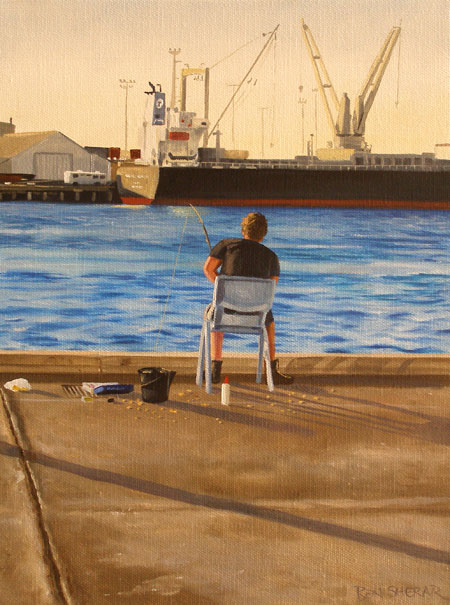 An original painting by Ben Sherar of a man fishing in Fremantle harbour