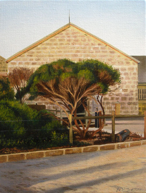 An original painting by Ben Sherar of late afternoon light on one of Fremantle's heritage buildings
