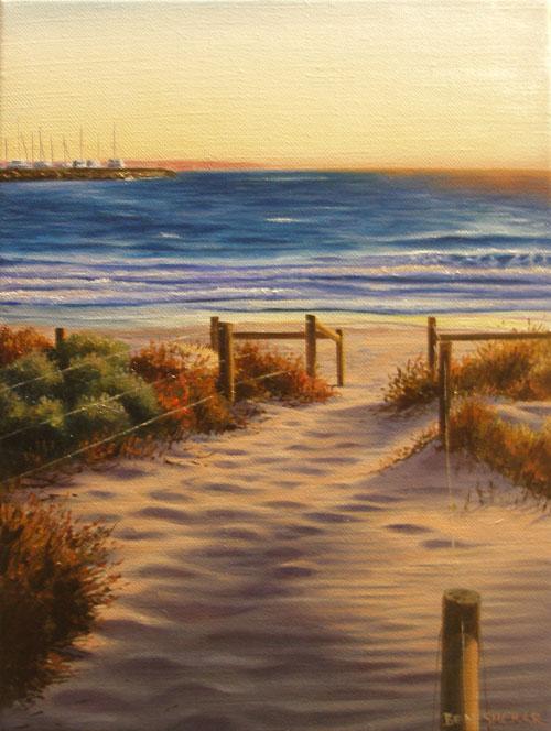 An original painting by Ben Sherar of dusk at Bathers Beach