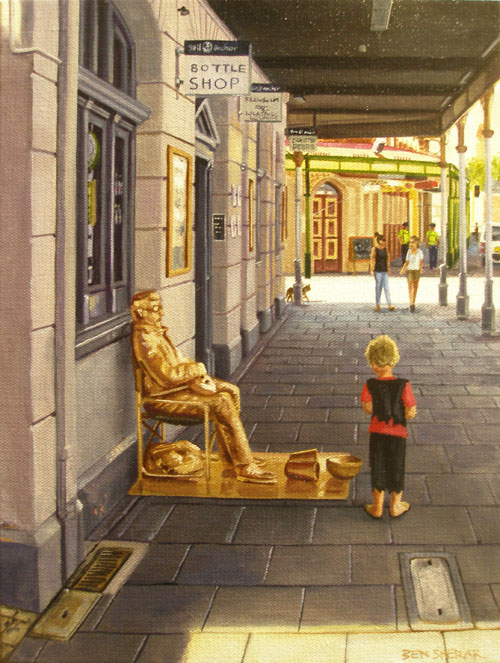 An original painting by Ben Sherar of a busker and a child in Fremantle