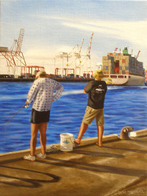 An original painting by Ben Sherar of men fishing at the port in Fremanlte