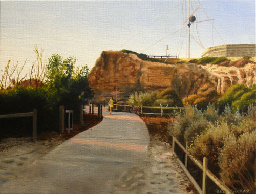 An original painting by Ben Sherar of the pathway to the roundhouse in Fremantle