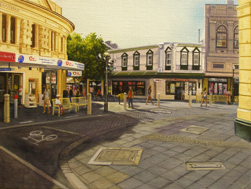 An original painting by Ben Sherar of High Street Mall in Fremantle