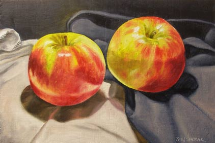 A painting by Ben Sherar of two red apples