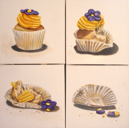 Four paintings of a little cucake