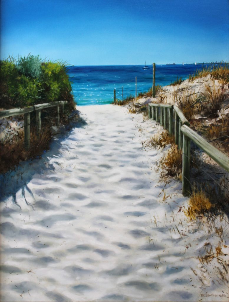 An original oil painting by Western Australian Artist Ben Sherar depicting a pathway down to one of Perths sunny beaches