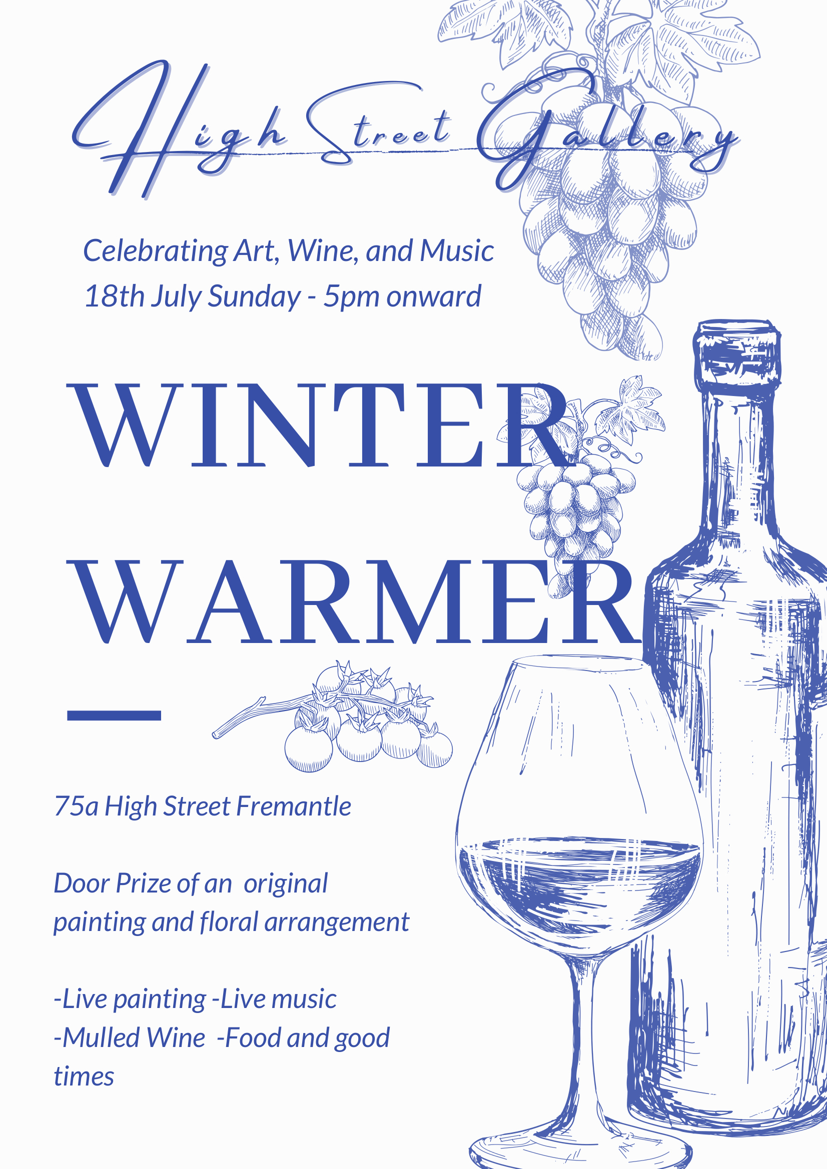 High Street Gallery 'Winter Warmer' is on this Sunday the 18th of July - New paintings on display along with live music and mulled wine!