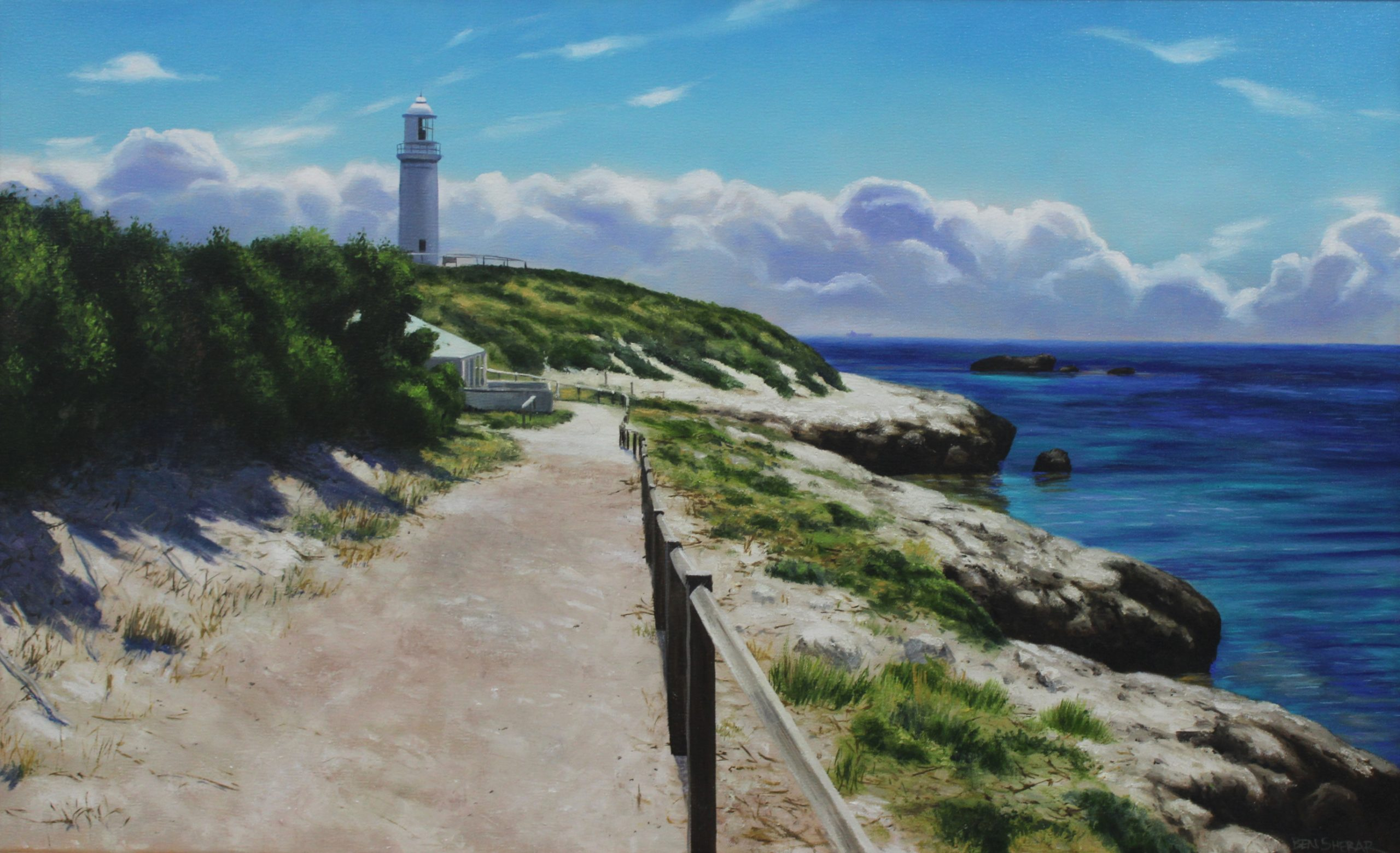 An original oil painting by ben Sherar depicting bathurst Lighthouse on Rottnest Island, just off the coast of perth in Western Australia